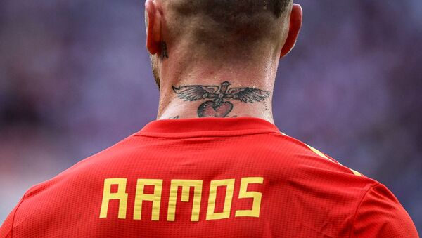 Spain's Sergio Ramos rests during the World Cup Round of 16 soccer match between Spain and Russia at the Luzhniki stadium in Moscow, Russia, July 1, 2018. - Sputnik International