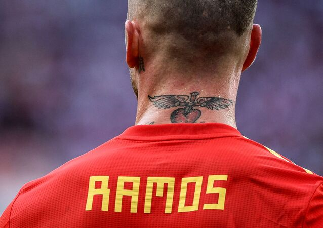 Spain's Sergio Ramos rests during the World Cup Round of 16 football matches between Spain and Russia at the Luzhniki stadium in Moscow, Russia, 1 July 2018.