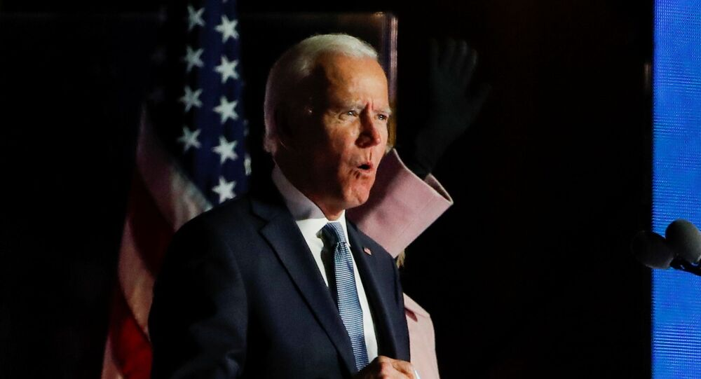 U.S. Democratic presidential nominee and former Vice President Joe Biden reacts to early results from the 2020 U.S. presidential election, in Wilmington, Delaware