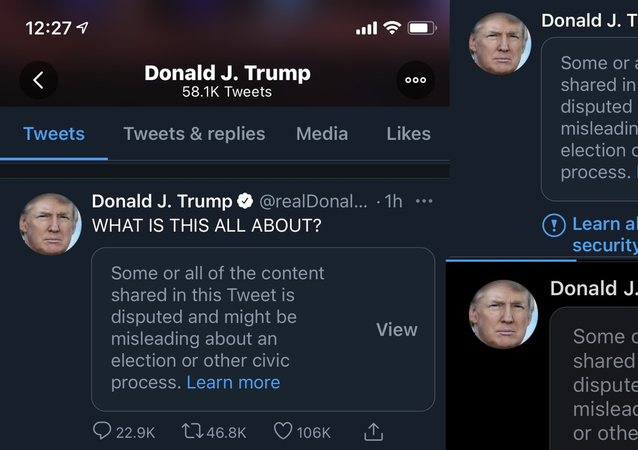 Collage of Trump tweets censored by Twitter since election day.