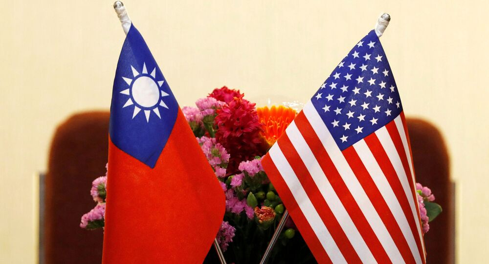 Flags of Taiwan and U.S. are placed for a meeting between U.S. House Foreign Affairs Committee Chairman Ed Royce speaks and with Su Chia-chyuan, President of the Legislative Yuan in Taipei, Taiwan March 27, 2018.