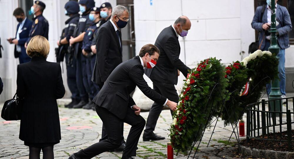 Austrian Chancellor Sebastian Kurz attends a wreath laying ceremony after gun attack in Vienna, Austria November 3, 2020