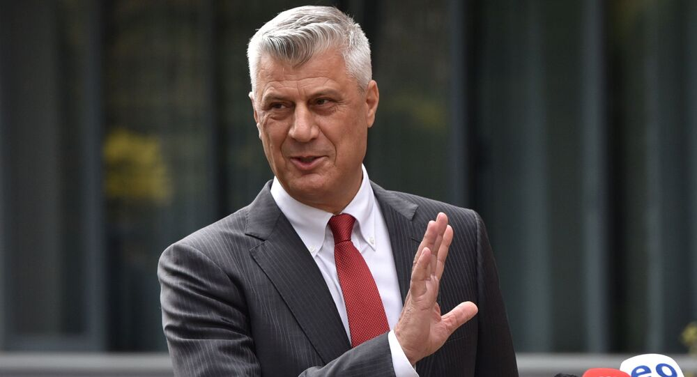 Kosovo's President Hashim Thaci is pictured during a news conference as he resigns to face war crimes charges at international court in Pristina, Kosovo, November 5, 2020