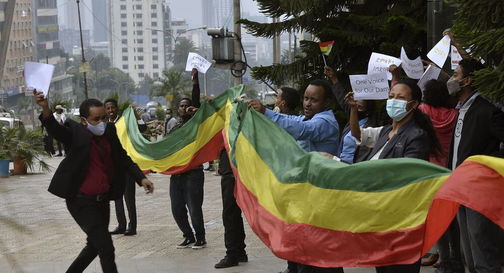 Ethiopians celebrate the progress made on the Nile dam, in Addis Ababa, Ethiopia in August 2020.