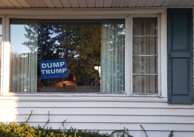 Dump Trump sign at home in Green, Ohio.