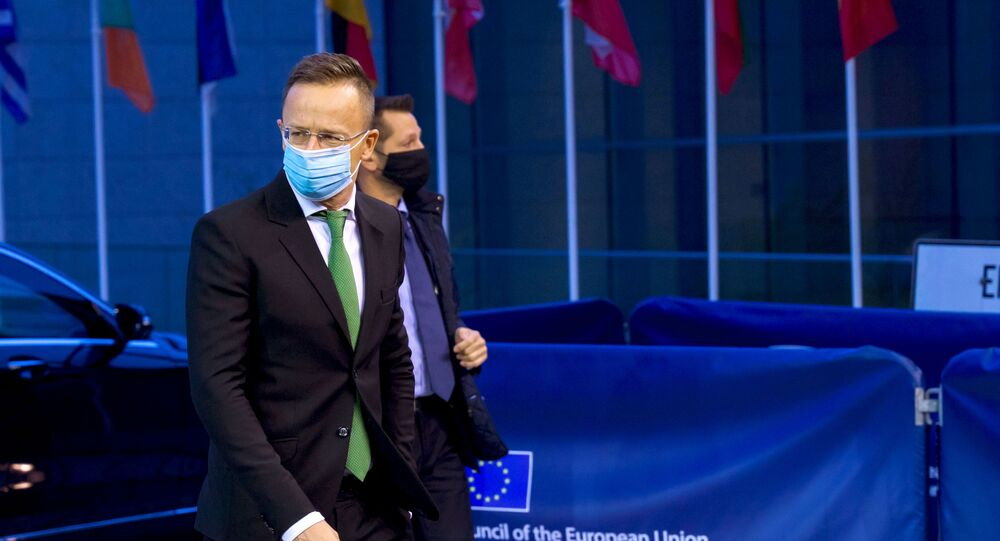 Minister for foreign affairs of Hungary Peter Szijjarto arrives to attend a European Foreign Affairs ministers council in Luxembourg October 12, 2020.