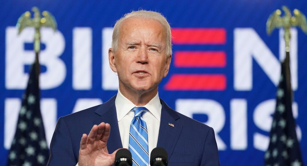 Democratic U.S. presidential nominee Joe Biden speaks about 2020 U.S. presidential election results Wilmington, Delaware