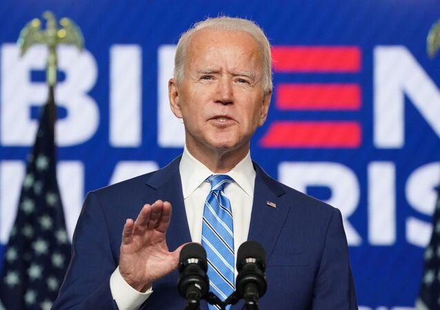 Democratic U.S. presidential nominee Joe Biden speaks about 2020 U.S. presidential election results Wilmington, Delaware