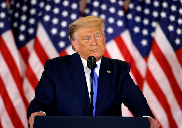 U.S. President Donald Trump speaks about early results from the 2020 U.S. presidential election in the East Room of the White House in Washington, U.S., November 4, 2020