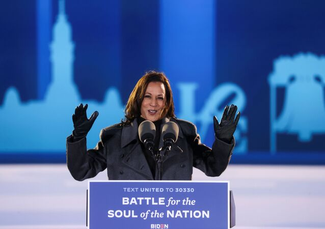 Democratic U.S. vice presidential candidate Kamala Harris gestures as she gives remarks during an event, in Philadelphia, Pennsylvania, November 2, 2020.