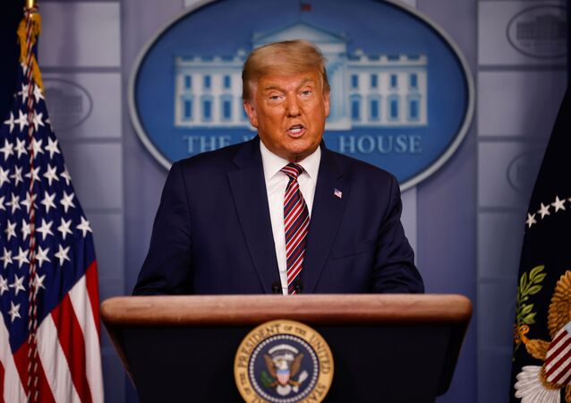 U.S. President Donald Trump speaks about the 2020 U.S. presidential election results in the Brady Press Briefing Room at the White House in Washington, U.S., November 5, 2020.