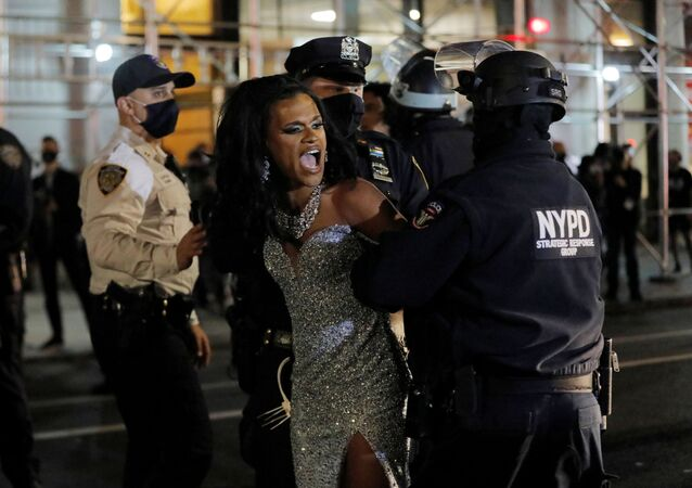 New York Police Department (NYPD) officers detain a protester during a Black Lives Matter demonstration in Manhattan, New York City, U.S. November 5, 2020.