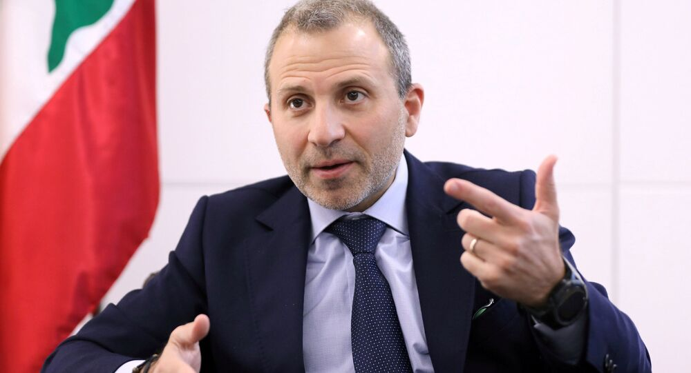 FILE PHOTO: Gebran Bassil, a Lebanese politician and head of the Free Patriotic movement, talks during an interview with Reuters in Sin-el-fil, Lebanon July 7, 2020