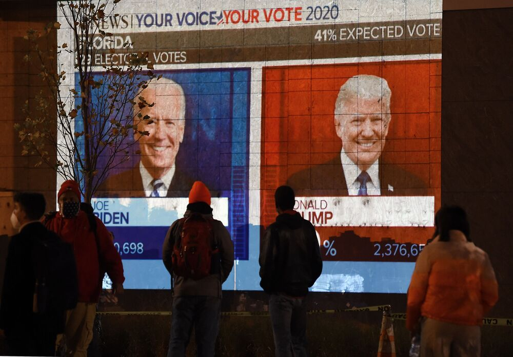 People watch a big screen displaying election results live in Florida at Black Lives Matter plaza across from the White House on election day in Washington, DC on 3 November 2020.