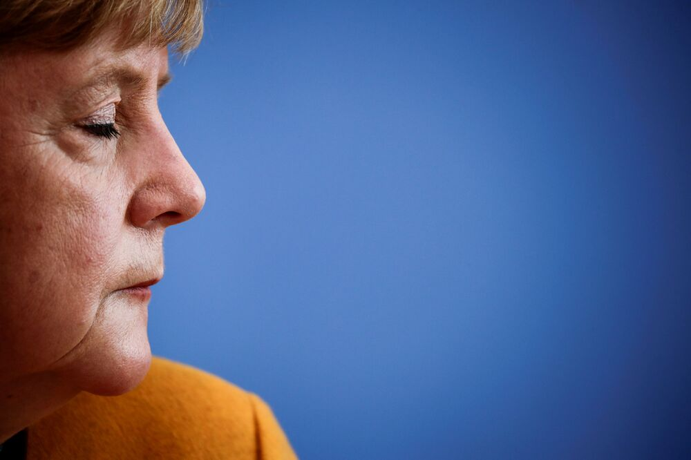 German Chancellor Angela Merkel gives a press conference on the COVID-19 pandemic, following a meeting with her so-called Corona-Cabinet, on 2 November 2020 in Berlin.