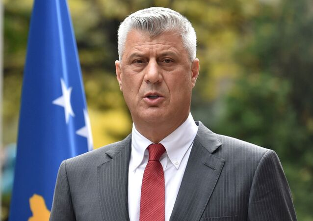 Kosovo's President Hashim Thaci speaks during a news conference as he resigns to face war crimes charges at a special court based in the Hague, in Pristina, Kosovo, November 5, 2020