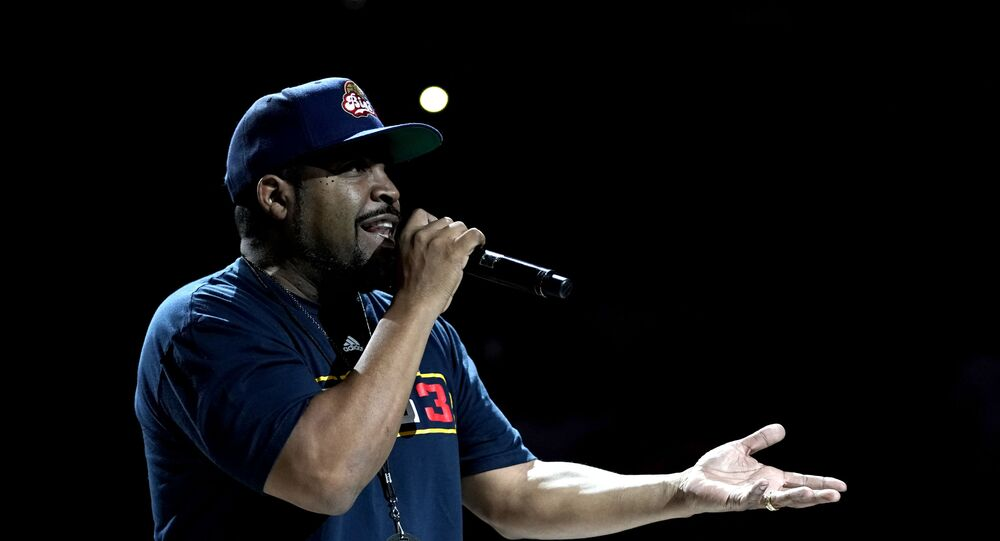 OKLAHOMA CITY, OKLAHOMA - JULY 21: Ice Cube, founder of the BIG3, performs during week five of the BIG3 three on three basketball league at Chesapeake Energy Arena on July 21, 2019 in Oklahoma City, Oklahoma.