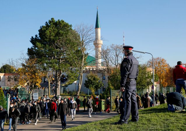 A police officer stands outside the mosque after the Friday prayer, in Vienna, Austria November 6, 2020
