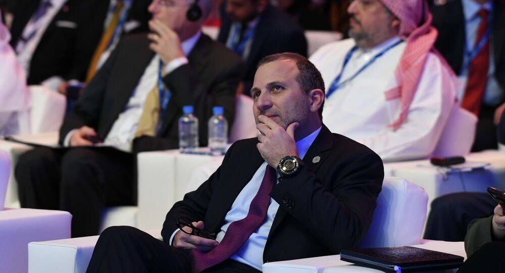 Lebanon's caretaker Foreign Minister Gebran Bassil attends the Doha Forum 2019 at the Sheraton Grand Doha Resort & Convention Hotel in Doha, Qatar, December 14th of 2019.