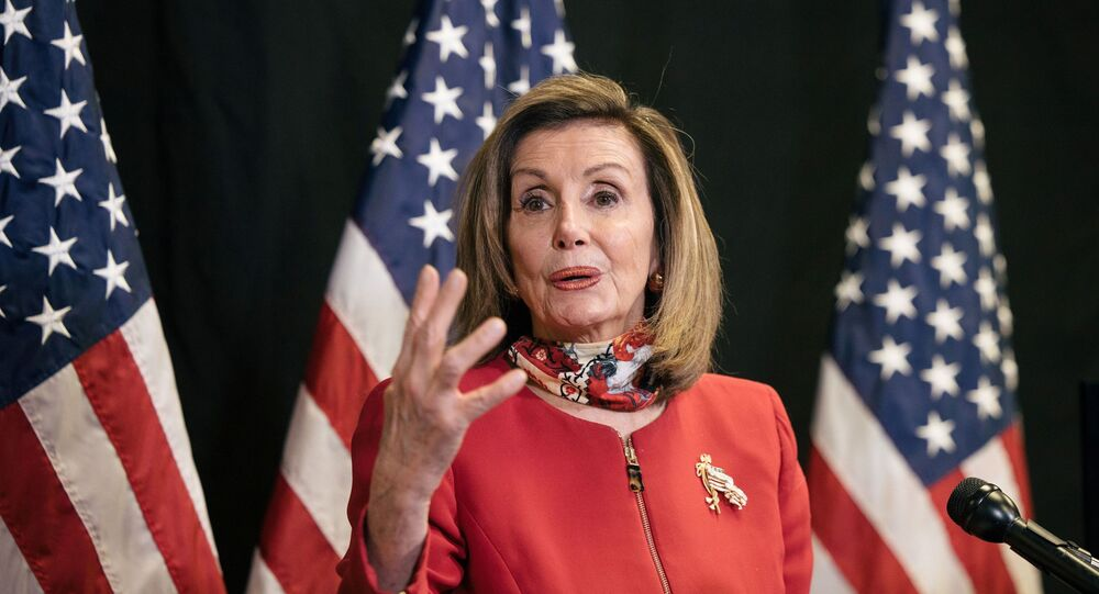 U.S. Speaker of the House Nancy Pelosi (D-CA) talks to reporters about Election Day results in races for the House of Representatives, at Democratic National Committee headquarters on Capitol Hill in Washington, U.S., November 3, 2020.