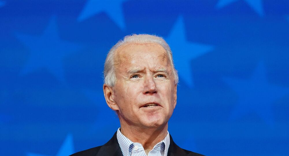 Democratic U.S. presidential nominee Joe Biden makes a statement on the 2020 U.S. presidential election results during a brief appearance before reporters in Wilmington, Delaware, U.S., November 5, 2020.