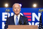 U.S Democratic presidential nominee Joe Biden speaks about election results in Wilmington, Delaware, U.S., November 6, 2020