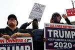 Supporters of U.S. president Donald Trump rally as votes continue to be counted following the 2020 U.S. presidential election, in Detroit, Michigan, U.S., November 5, 2020.
