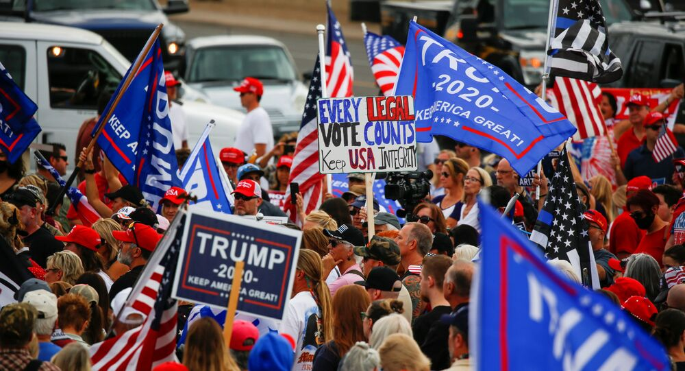 Supporters of U.S. President Donald Trump gather during a protest about the early results of the 2020 presidential election, in front of the Maricopa County Tabulation and Election Center (MCTEC), in Phoenix, Arizona, U.S., November 6, 2020.