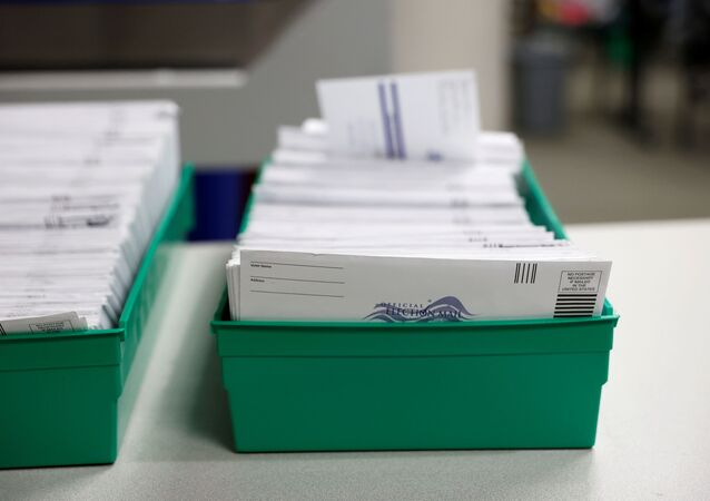 Mail-in ballots are pictured as they are counted in Lehigh County, Pennsylvania, U.S., November 4, 2020.