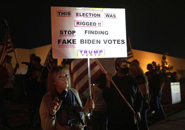 Judy Goff, a supporter of President Donald Trump, holds a sign during a Stop the Steal protest at the Clark County Election Center in North Las Vegas, Nevada, U.S. November 5, 2020. REUTERS/Steve Marcus