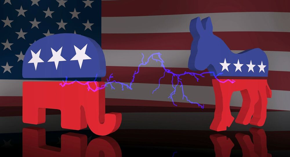 Symbols of the Democratic and the Republican parties