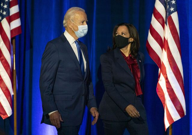 Democratic presidential candidate former Vice President Joe Biden and Democratic vice presidential candidate Sen. Kamala Harris, D-Calif., arrive before Biden speaks, Friday, Nov. 6, 2020, in Wilmington, Del