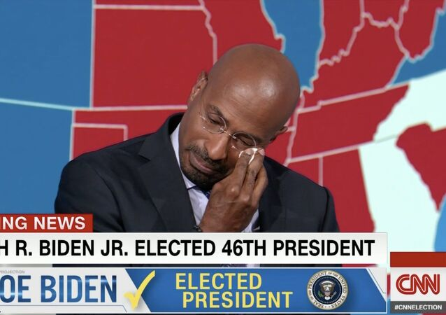 CNN commentator Van Jones breaks into tears following the announcement of Democratic candidate Joe Biden's projected win in the 2020 presidential race against Republican President Donald Trump, on 07.11.2020.
