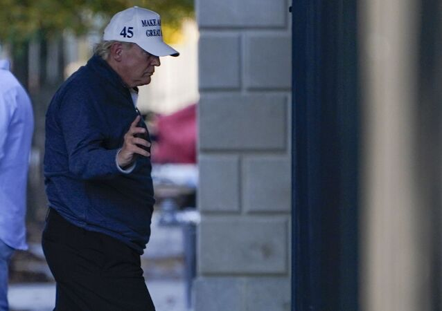 President Donald Trump arrives at the White House after golfing Saturday, Nov. 7, 2020, in Washington.