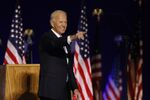 Democratic 2020 U.S. presidential nominee Joe Biden points to the crowd after speaking at his election rally, after the news media announced that Biden has won the 2020 U.S. presidential election over President Donald Trump, in Wilmington, Delaware, U.S., November 7, 2020.