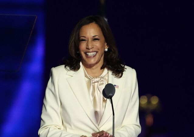 WILMINGTON, DELAWARE - NOVEMBER 07: Vice President-elect Kamala Harris takes the stage before President-elect Biden addresses the nation from the Chase Center November 07, 2020 in Wilmington, Delaware.