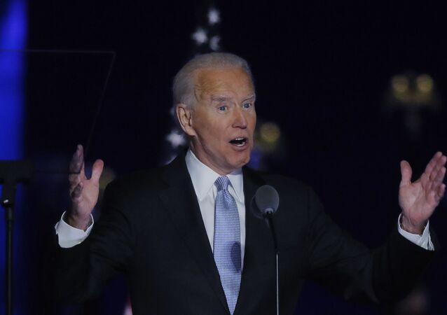 Democratic 2020 U.S. presidential nominee Joe Biden speaks at his election rally, after the news media announced that Biden has won the 2020 U.S. presidential election over President Donald Trump, in Wilmington, Delaware, U.S., November 7, 2020. REUTERS/Jim Bourg