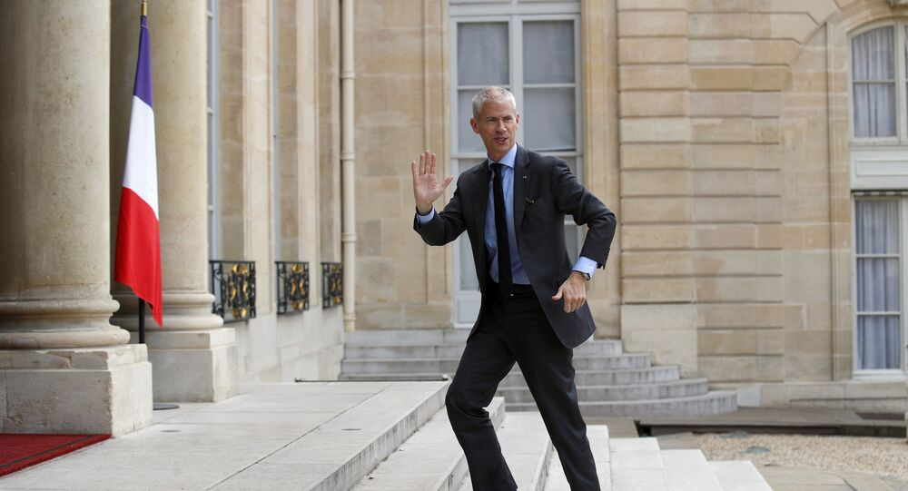French Culture Minister Franck Riester arrives a t a ceremony to honor Japan's architect Arata Isozaki at the Elysee Palace, in Paris, Friday, May 24, 2019