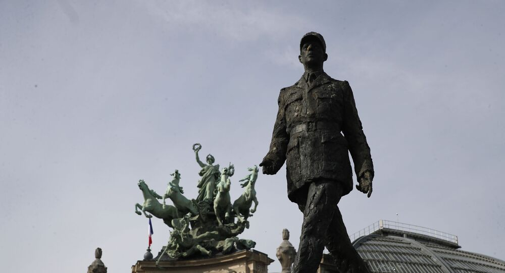 The statue of General Charles de Gaulle is pictured before VE Day ceremonies Friday May 8, 2020 in Paris