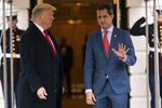President Donald Trump welcomes Venezuelan opposition leader Juan Guaido to the White House, Wednesday, Feb. 5, 2020, in Washington. (AP Photo/ Evan Vucci)