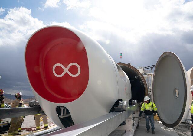 A Virgin Hyperloop pod is seen at their DevLoop test site in Las Vegas, Nevada, in this November 8, 2020 handout image released by Virgin Hyperloop