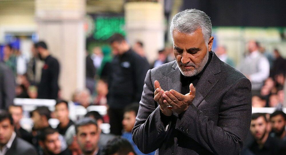 Qasem Soleimani Saying Prayer in Imam Khomeini Hossainiah in Tehran