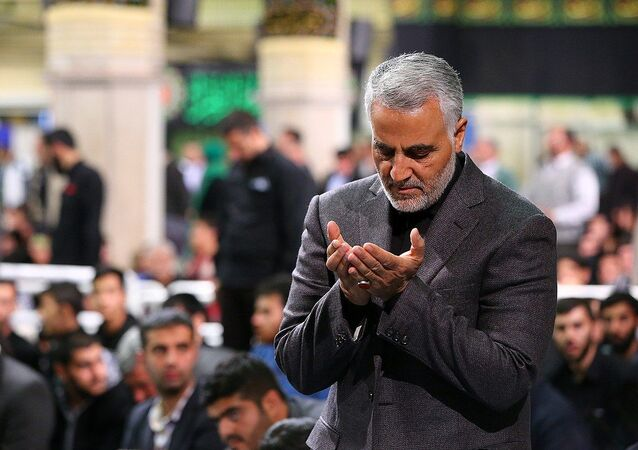 Qasem Soleimani Saying Prayer in Imam Khomeini Hossainiah in Tehran. File photo
