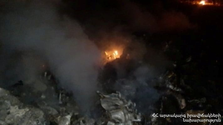 A view shows what is said to be a crash site following the downing of a Russian military Mi-24 helicopter at an unknown location in Armenia, in this handout photo released November 9, 2020. Ministry of Emergency Situations of the Republic of Armenia