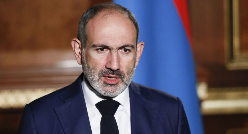 In this photo provided by the Armenian Prime Minister Press Service via PAN Photo, Armenian Prime Minister Nikol Pashinyan addresses the nation in Yerevan, Armenia, Tuesday, Oct. 27, 2020.