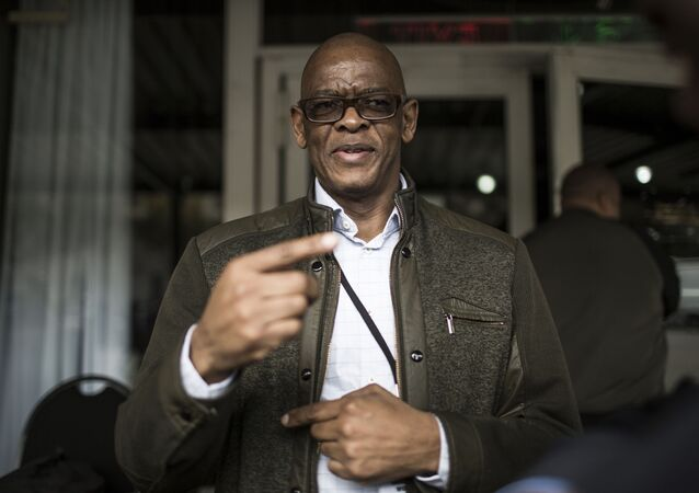 African National Congress (ANC) Secretary General Elias Ace Magashule speaks to the media during a meeting of the ruling African National Congress (ANC) party on its land expropriation policy in Johannesburg on May 19, 2018