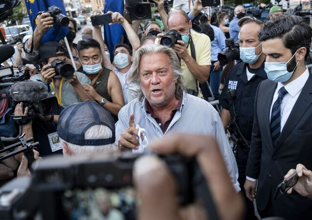 President Donald Trump's former chief strategist Steve Bannon leaves federal court, Thursday, Aug. 20, 2020, after pleading not guilty to charges that he ripped off donors to an online fundraising scheme to build a southern border wall.