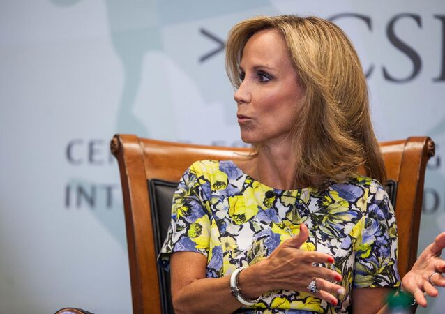 National CSIS Trustee and former Assistant to the President for Homeland Security and Counterterrorism Frances Townsend speaks during a panel discussion moderated by National Security Division Deputy Assistant Attorney General Stuart J. Evans during a conference between The Center for Strategic and International Studies(CSIS) and the Justice Department at the CSIS building September 14, 2016 in Washington, D.C.