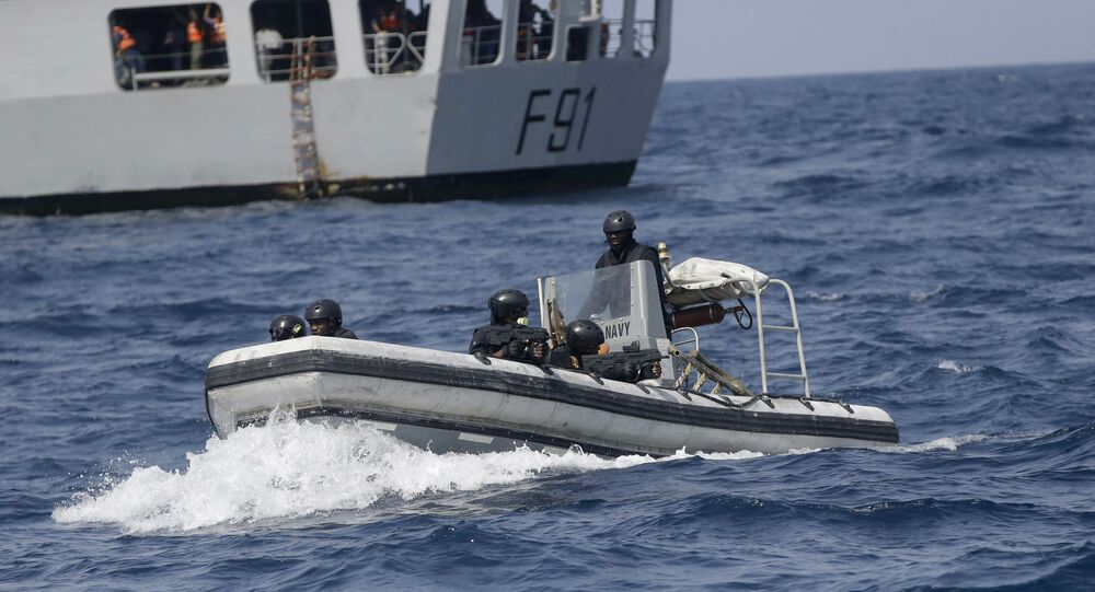 In this photo taken on Wednesday March 20 2019, Nigeria Naval Special Forces patrol during a joint navy exercise, in the Gulf of Guinea