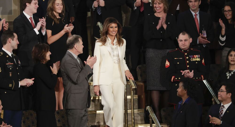 First lady Melania Trump arrives before the State of the Union address to a joint session of Congress on Capitol Hill in Washington, Tuesday, Jan. 30, 2018.